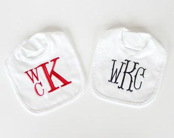 Set of Two Monogrammed Bibs - Other Colors Available - Personalized Bibs