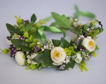 Flower crown, wreath, headband, berries, ivory, purple, photo prop,  bride, wedding flowers, hairpiece, headpiece,