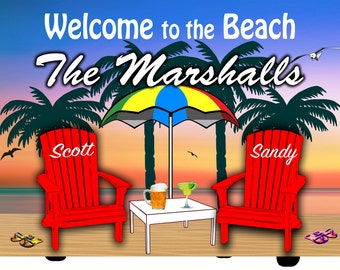 Personalized Beach Sign/ Welcome to the Beach Sign -Personalize with Last Name First Name/ Camping/Beach/Lake