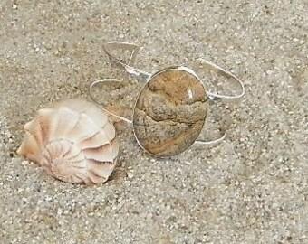Gemstone Cuff Bracelet, Sterling Silver Cuff Bracelet, Jasper Cuff Bracelet, Adjustable Bracelet