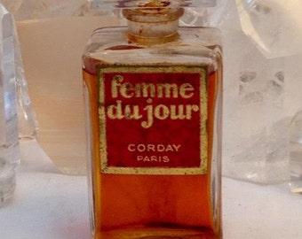 Corday, Femme du Jour, 30 ml. or 1 oz. Flacon, Pure Parfum Extrait, 1926, Paris, France ..