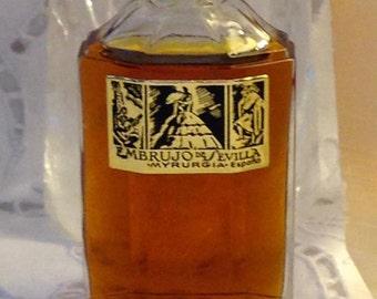 Myrurgia, Embrujo de Sevilla, 30 ml. of 1.03 oz. Flacon, Pure Parfum Extrait, 1933, Barcelona, Spain ..