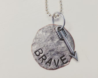 Brave Pressed Dime Necklace with Arrow Charm