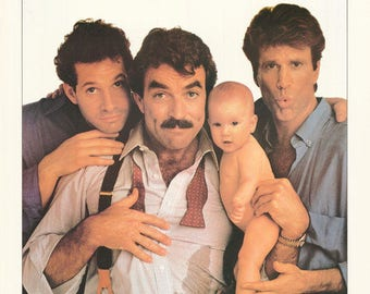 Three Men and A Baby Tom Selleck Ted Danson Steve Guttenberg  Rare Vintage Poster