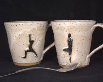 Cream Speckled Yoga Pottery Mugs - Ceramic Coffee Cup - 12 oz -  Warrior I or Tree Pose - Ready to Ship - ceramics - pottery – stoneware