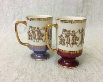 Vintage Royal Crown Arnart Greek Classics Smug Mug, Set of 2