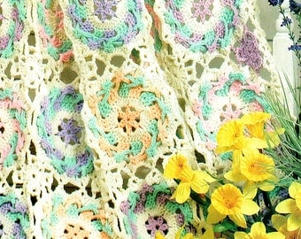 Baby 'Rose Garden' Blanket Crochet Pattern, Shawl, Afghan, Granny Square, Heirloom, Keepsake, Baby Shower, Doll, Victoriana, Lacy, Pretty