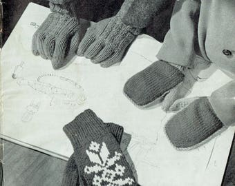 PDF Vintage 1950s Baby Children Gloves Knitting Pattern Booklet PATONS 652 MOORLANDS P & B Scandinavian  Fair Isle Mittens