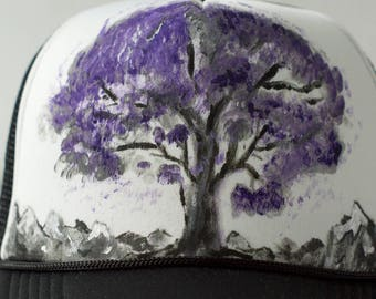 Purple Tree// Trucker Hat// Custom Hat