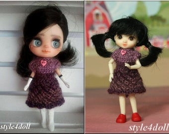 """style4doll knitting dress for Amelia Thimble and Blythe LPS 4 4/8"""""""