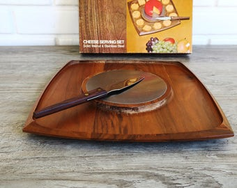 Vintage Cheese Serving Set, Retro Cheese Server, Mid Century Cheese Server, 70's Cheese Plate, Vintage Flair by Foley