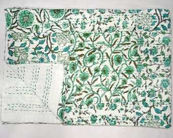 New Indian Kantha Quilt Twin Size Handblock Patchwork Bedsheet Cotton Handmade Small Floral Bedspread Throw Green Indian Bedcover