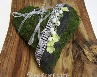Ring pillow Moss heart white green anthracite