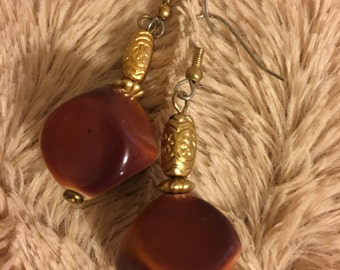 Square Brown & Mustard Yellow Earrings With Gold Accents