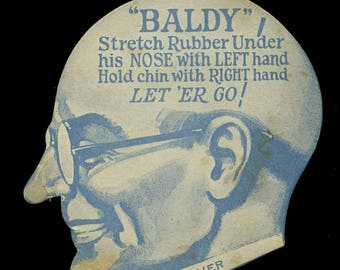 c1920 Baldy toy card - Puffed Malted Milk Candies -- Folly Town Co.