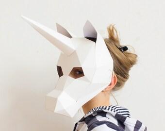 Unicorn mask for kids, DIY printable paper animal mask for children, Instant Pdf download, DIY Unicorn