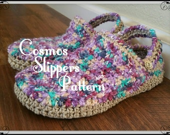 Crochet  Slipper Pattern,Cosmos Slippers for Men and Women, teen, water resistant soles,outdoor, clogs, shoes, for her, for him, gift
