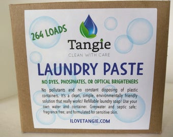 NO BORAX Laundry Soap Paste. 264 loads! Dilutes making 1 gallon liquid laundry soap. Safe for sensitive skin & baby clothes. Fragrance free.