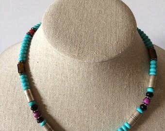 Vintage Navajo Turquoise Multi Stone Beaded Necklace