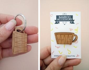 brooche  or keychain! Laser cut bamboo Minimalistic teacup brooche