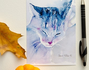 Purring cat postcard, print postcard - cat stationery