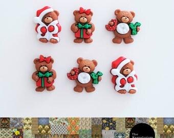 Christmas Bears Fridge Magnet Set