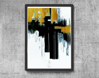 Abstract digital print, yellow and black painting, digital download print, abstract printable, minimalist art, printable art, teal