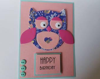 Handmade cute owl/woodland/ pastel pink birthday/blank/greetings card