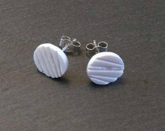 White Earrings, White Post Earrings, White Stud Earrings, Everyday Earrings, Simple Earrings , White China Earrings, Broken China Earrings