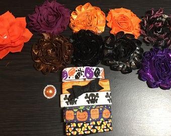 Halloween DIY Headband Kit Makes 5 Headbands Baby Shower Station Game, Shabby Flowers, Headbands #20A