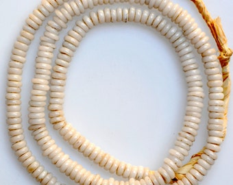 Vintage 7mm White Bohemian Donut Beads - Vintage African Trade Beads - 28 Inch Strand