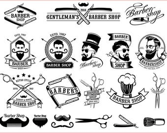 Barber Shop Vector Collection Beard Moustache Razor - svg cdr ai pdf png files for CNC Laser Engraving Cutting Printing Cutting Template