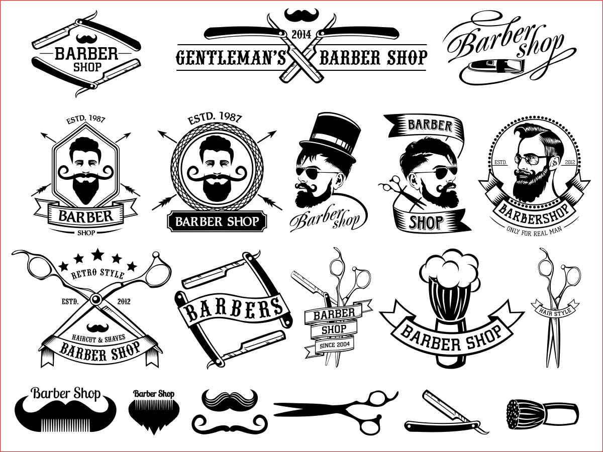 Barber Shop Vector Collection Beard Moustache Razor - svg cdr ai pdf ...
