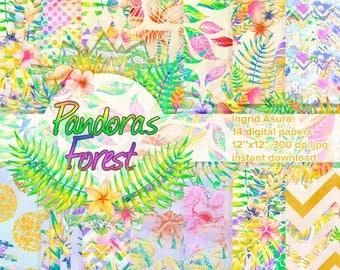 Tropical Paper Pack Digital Rainbow Spring Summer Background Scrapbook Seamless Patterns Multicolor Handpainted