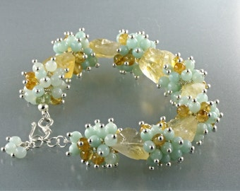 Hammered Oval Citrine, and Blue Amazonite and Citrine Cluster Bracelet, Blue and Yellow Beads Cluster Bracelet, Cluster Bracelet