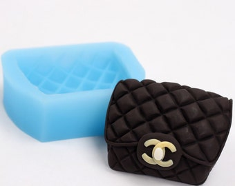 Medium Quilted Purse Silicone Mold for Fondant, Gum Paste, Chocolate or Cake Topper