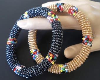 Stunning Seed Beaded Indian American Bangle Bracelets, Set of 2.