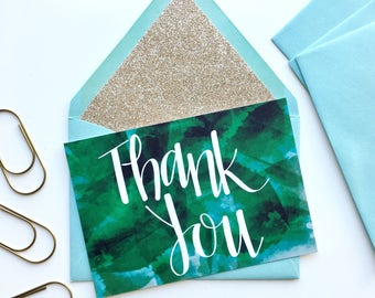 Thank You Card, Wedding Thank You Card, Custom Thank You Cards, Thank You from Mr. and Mrs. - Set of 10 Cards & Lined Envelopes