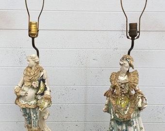 Antique Brass Base Figural Lamps with Lace