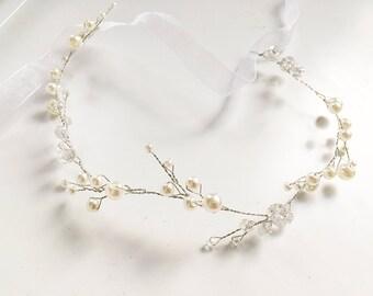 Bridal hair vine pearl headpiece wedding tiara bridal diadem