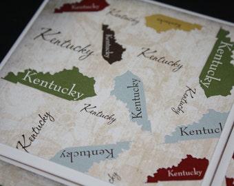 Kentucky gifts/ceramic tile/drink coasters/Kentucky print/Set of 4/Set of 6/Gift for her/Gift for him/Kentucky decor