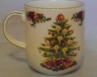 Christmas tree Cups, Royal Albert  Holiday Classic Collection, Old Country Roses, Perfect for Hot Chocolate, Christmas Mug, Mint Condition