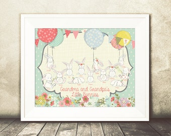 Personalized Easter and Spring Art - Extra Large Family Size (10+ People) - 8x10 or 11x14 Options