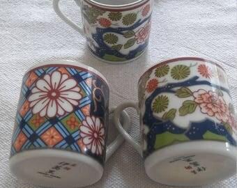 3 1940s Imari ware japan teacups