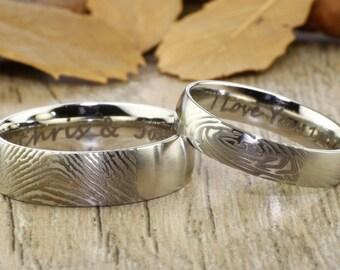 Custom Fingerprint Ring, Unique Promise Rings, Simple Matt Silver Wedding Titanium Rings Set