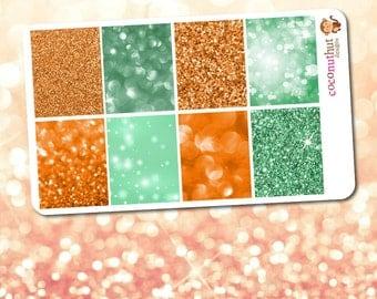 Orange & Green Glitter and Bokeh Full Box Planner Stickers (Erin Condren Life Planner)