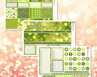 March Monthly Kit, March Monthly View Sticker Kit for Erin Condren Life Planner - 107 stickers!