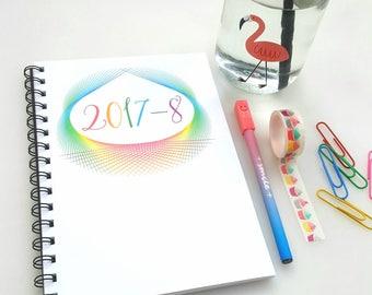 2017-8 Mid Year Rainbow Diary Planner, family organiser A5, academic diary