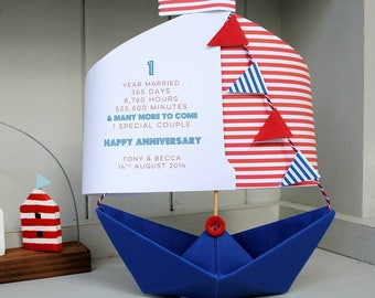 Anniversary Card, Stripes, 1st Anniversary, Paper Anniversary, Paper boat, Personalised Card, Anniversary Card, 1st Anniversary Card