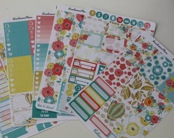 BLOSSOMLAND Weekly Planner Sticker Set | No White Space and Ala Carte options | compatible with VERTICAL Erin Condren Life Planner | L144